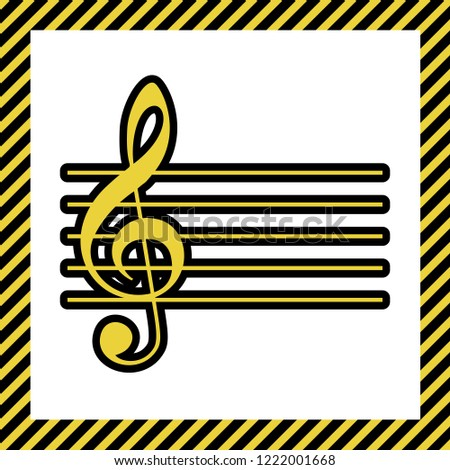 Music violin clef sign. G-clef. Vector. Warm yellow icon with black contour in frame named as under construction at white background. Isolated.