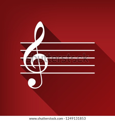Music violin clef sign. G-clef. Vector. White icon with limitless shadow at ruby red background.