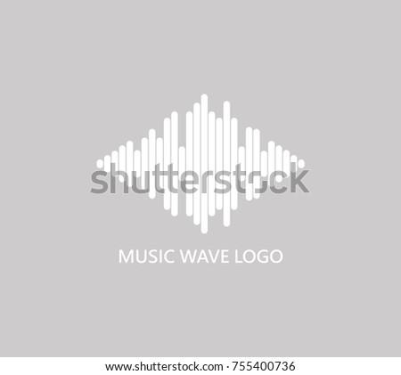 music wave logo audio white