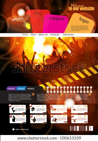Music web design template - stock vector