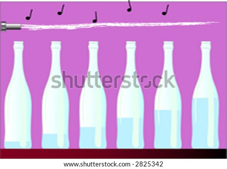 music whit bottle - stock vector
