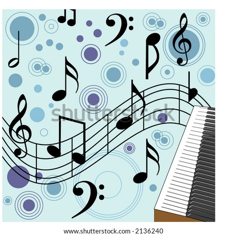 music with piano in corner illustration - stock vector
