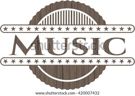 Music wooden emblem. Vintage.