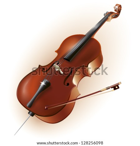 Musical background series. Classical cello, isolated in white background. Vector illustration