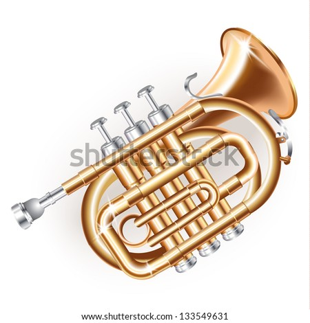 Musical background series. Classical mini trumpet, isolated on white background