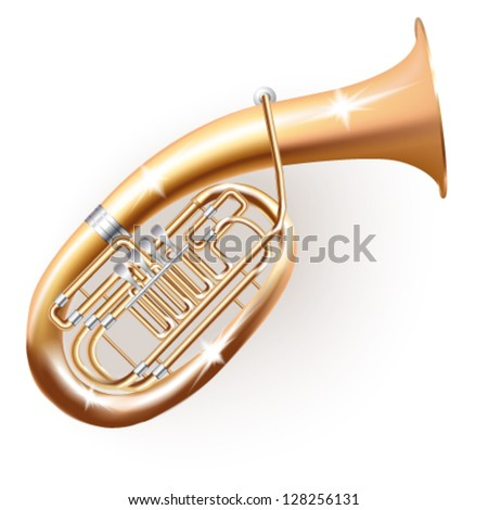 Musical background series. Classical Wagner tuba, isolated in white background. Vector illustration