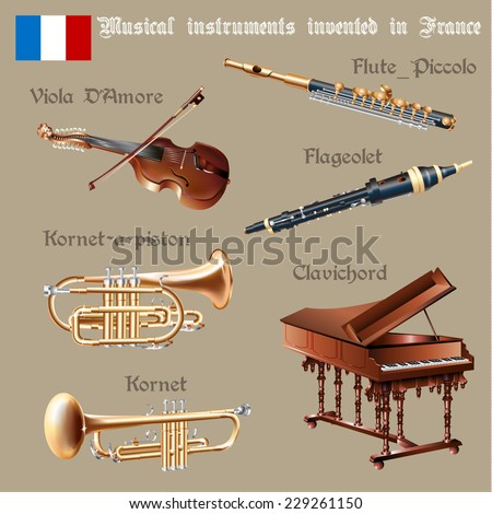 Musical background series. Set of musical instruments invented in France. Vector Illustration