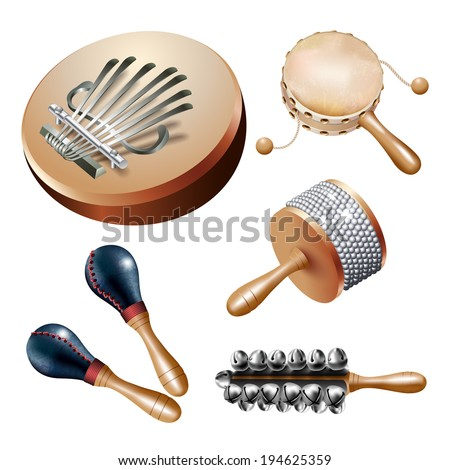 Musical background series. Set of percussion instruments (noisemakers), isolated on white background. Vector illustration