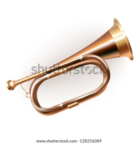 Musical background series. Traditional hunting horn, isolated on white background