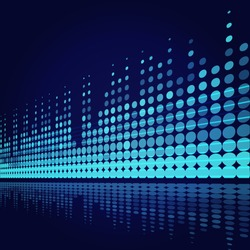musical background with blue lines on dark blue