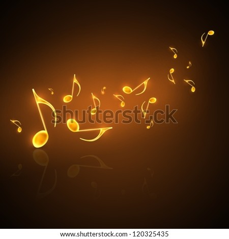 musical background with flowing golden notes
