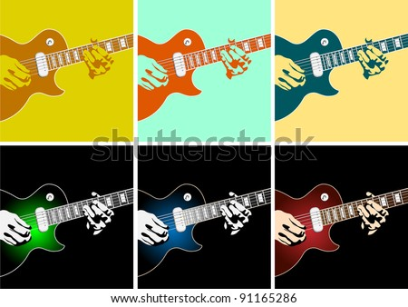 Musical background with guitar player.Vector illustration