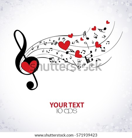 musical background with hearts