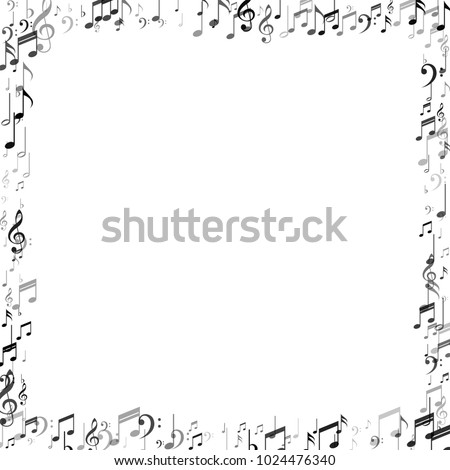 Musical Background with Note Signs and Symbols. Jazz Concert Cover Pattern Design. Symphony Motif Texture. Poster Print Design Background.