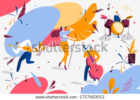 Musical band concert performance, vector illustration. Singer character near microphone with musicians cello, guitar, cartoon drums. Group playing instrument music, woman sing jazz song. Photo stock ©