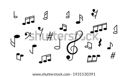 musical banner with a treble clef and a set of different notes and musical symbols. flat vector illustration isolated on white background Stock photo ©