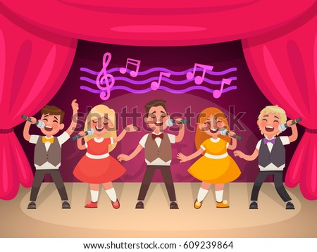 Musical children's group performs on stage. Boys and girls sing a song. Vector illustration in cartoon style