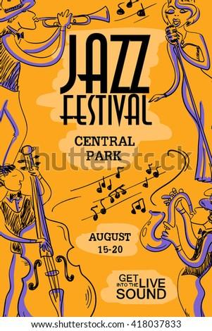 Musical creative poster with singer saxophone trumpet and musical creative poster with singer saxophone trumpet and contrabass players jazz festival design stopboris Choice Image