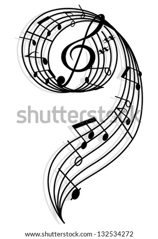 Musical curly elements with clef and notes. Vector illustration for art and entertainment background. Jpeg (bitmap) version also available in gallery