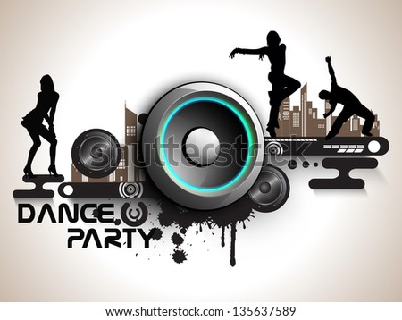 Musical Dance Party Background Flyer Or Banner Hiphop