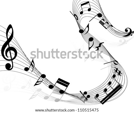 Musical Design Elements From Music Staff With Treble Clef And Notes in Black and White Colors. Vector Illustration.