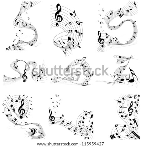 Musical Designs Sets With Elements From Music Staff , Treble Clef And Notes in Black and White Colors. Elegant Creative Design With Shadows and Isolated on White. Vector Illustration.