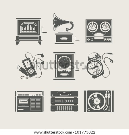 musical device set of icon vector illustration