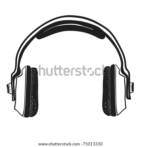 Musical ear-phones. A children's sketch.Headphones isolated on a white background.