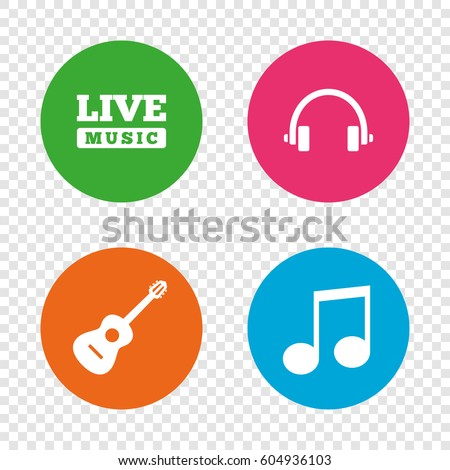 Musical elements icons. Musical note key and Live music symbols. Headphones and acoustic guitar signs. Round buttons on transparent background. Vector