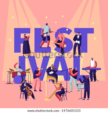 Musical Festival Concept with Musicians Playing Classical and Rock Instruments Performing on Stage. Music Concert and Culture Activity Poster Banner Flyer Brochure. Cartoon Flat Vector Illustration