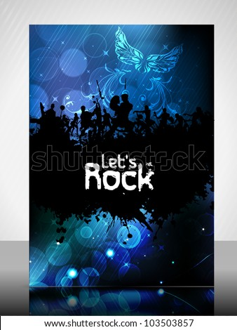 Musical flyer template, brochure or cover design with dancing peoples silhouette on creative abstract pattern for publishing, print and presentation. Vector illustration in EPS 10.