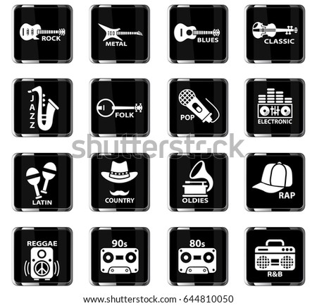 musical genre web icons for user interface design