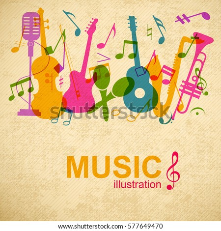 Musical graphic poster with colorful music instruments and notes silhouettes on striped vintage background vector illustration