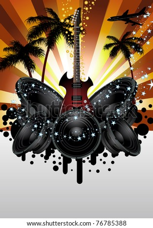 Musical grunge background. Vector illustration.