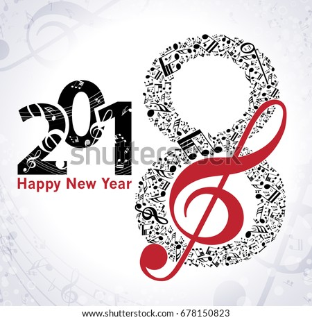 musical happy new year background with notes 2018