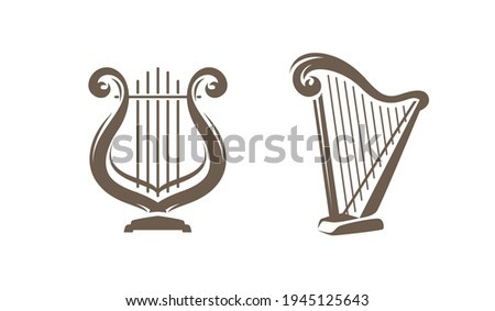 Musical harp, lyre symbol or logo. Classical music concept vector illustration Stock photo ©