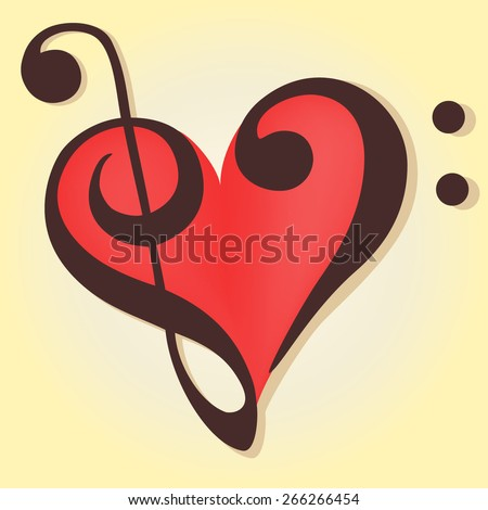 Musical heart in a bass and treble clef