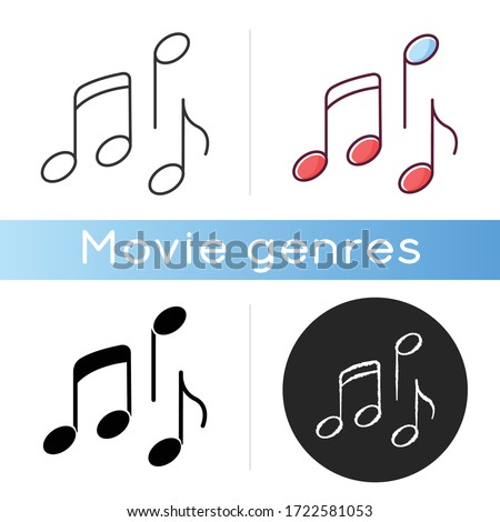 Musical icon. Linear black and RGB color styles. Traditional movie genre, artistic cinematography. Common film category with song and dance numbers. Music notes isolated vector illustrations