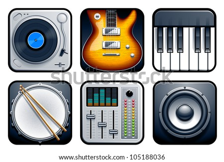 Musical icons vector set.