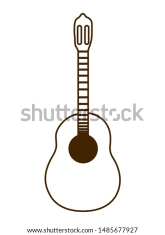 musical instrument acoustic guitar on white background