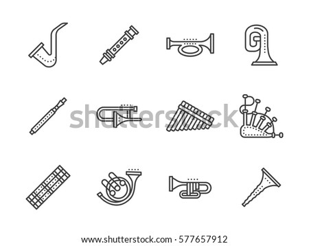Musical instrument for orchestras. Set simple line style icons