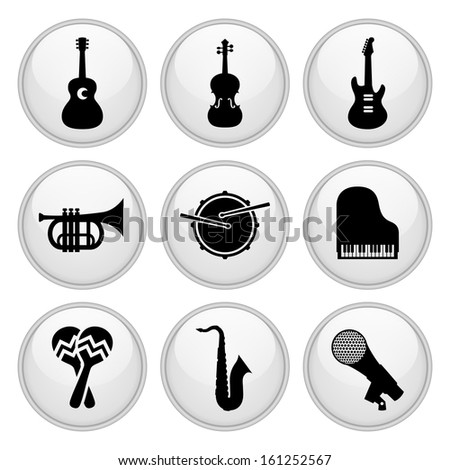 Musical Instrument Icons Glossy White Button Icon Set