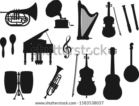 Musical instrument isolated monochrome icons. Vector classic, jazz and folk music tools. Retro drum and violin, piano and trumpet, maracas and horn. Guitar and harp, gramophone and trumpet, cello Foto stock ©