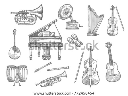 Musical instrument sketch set of classic, folk and jazz music. Piano, guitar and drum, violin, trumpet and flute, horn, maracas and harp, cello, mandolin and retro gramophone for music themes design