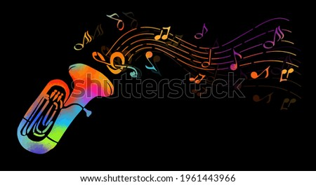 musical instrument the tuba with decorative elements. Abstract multicolored tuba. Vector illustration Сток-фото ©