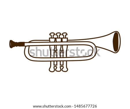 musical instrument trumpet on white background