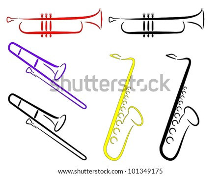 Musical Instruments - Abstract. (Vector). 3 musical instruments - Saxophone, Trombone and Trumpet.