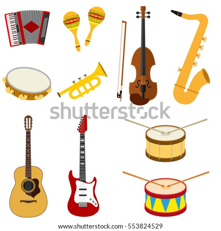 Musical instruments, accordion, maracas, violin, saxophone, tambourine, trumpet, drum, classical guitar, electric guitar, sound, melody. Flat design, vector illustration, vector.
