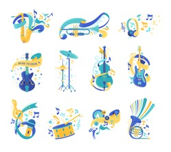 Musical instruments and notes flat illustrations set. Electric guitar, drums, violin. Modern headphones, vintage microphone isolated cliparts. Music festival, jazz concert, audio listening