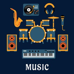 Musical instruments and sound equipment with drum set, headphone, saxophone, microphone, synthesizer, dj turntable and loudspeakers flat icons with caption Music bellow